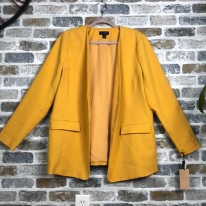 HALOGEN OPEN FRONT BLAZER JACKET YELLOW 1X NWT
